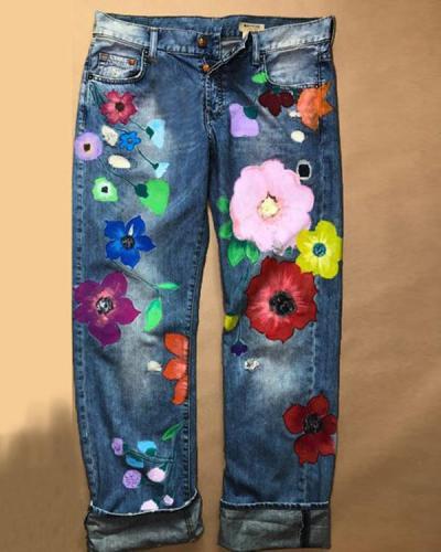 Denim Floral Casual Pants