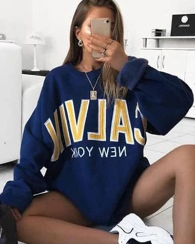 Women's Fashion Fleece Sweatshirt Letter Print Oversize Pullover