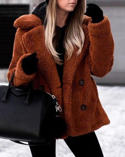Shawl Collar Long Sleeve Buttoned Solid Winter Teddy Bear Coat