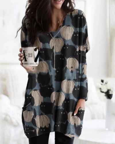 Women Print Long Sleeve Blouses