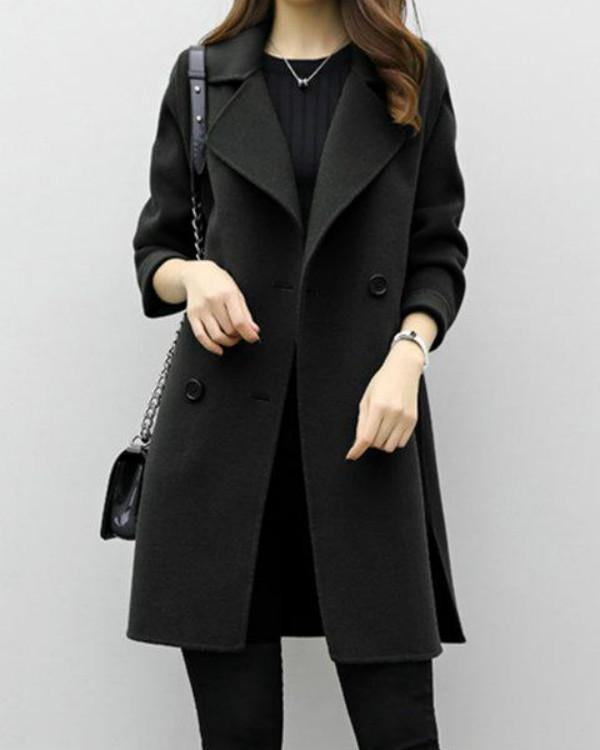 Long Sleeve Solid H-line Pea Coat