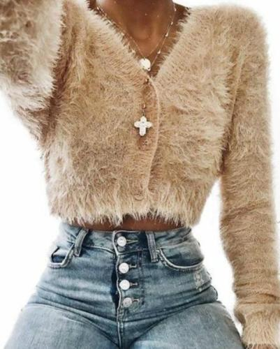 Women Casual Warm Teddy Fur Coat Jacket Tops Long Sleeve Overcoat Pullover
