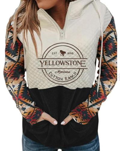 Women's Hood Collar Printed Pocket Sweatshirt