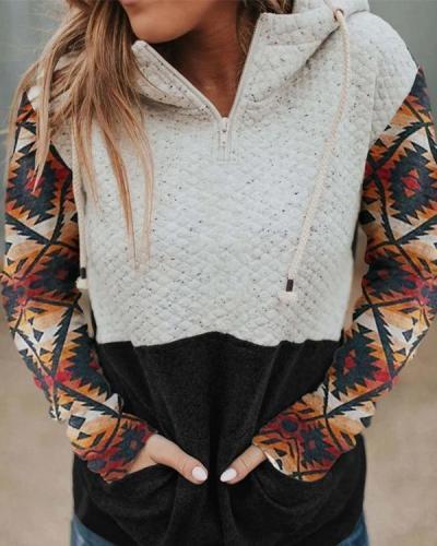 Women's Hood Collar Colorblock Pocket Sweatshirt
