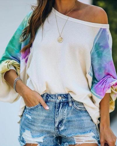 Women Tie Dye Slash Neck Balloon Long Sleeve T-Shirts