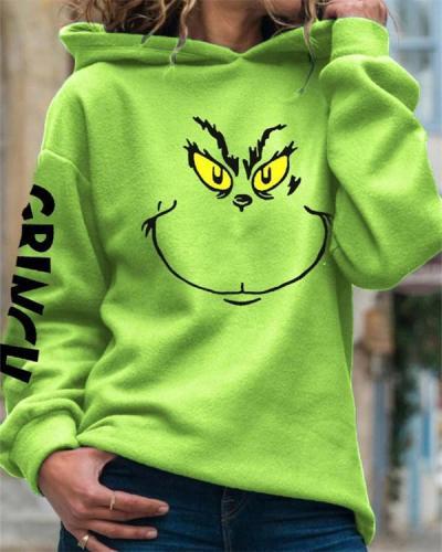 Green Graffiti Hooded Long Sleeve Sweatshirt