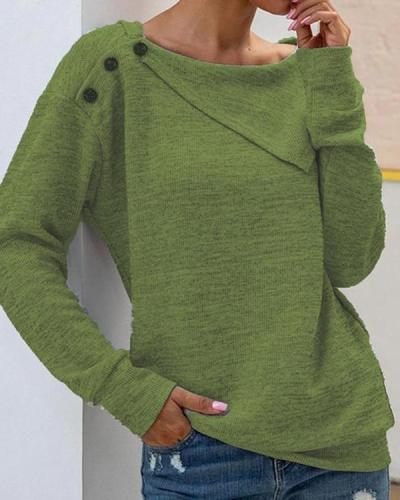 Solid Shawl Collar Casual Shirts & Tops