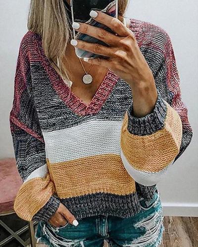 Casual V-Neck Stripe Color Block Sweaters