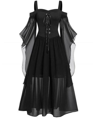 Women's Halloween Costume Retro Mesh Long Sleeve Dress