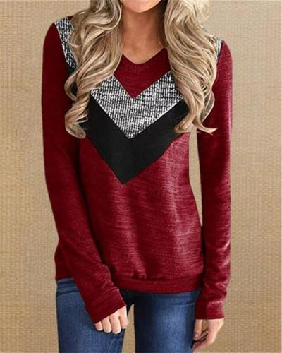 Casual Striped V Neck Long Sleeve Sweatshirts