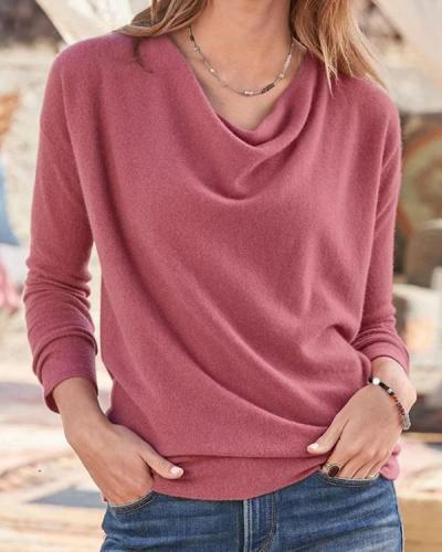 Irregular Heap Collar Long Sleeves Women Plus Size Blouse(6 Colors)