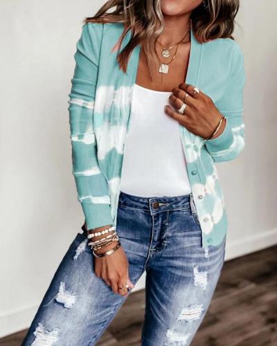 Women's Plus Size Tie Dye Knit Sweater Cardigan