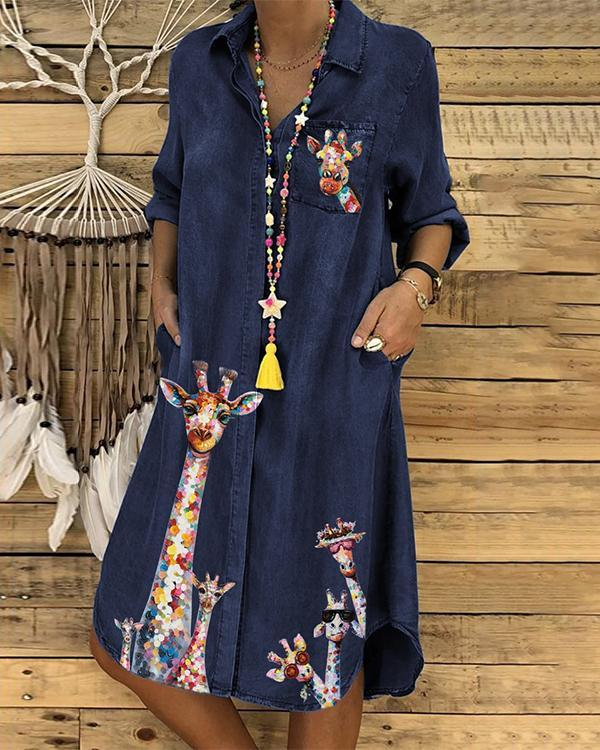 Ladies Denim Animal Print Dress