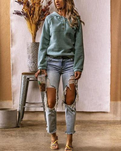 Casual Cotton-Blend Long Sleeve Sweatshirt