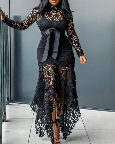 Plus Size Lace Irregular Hem Maxi Dress