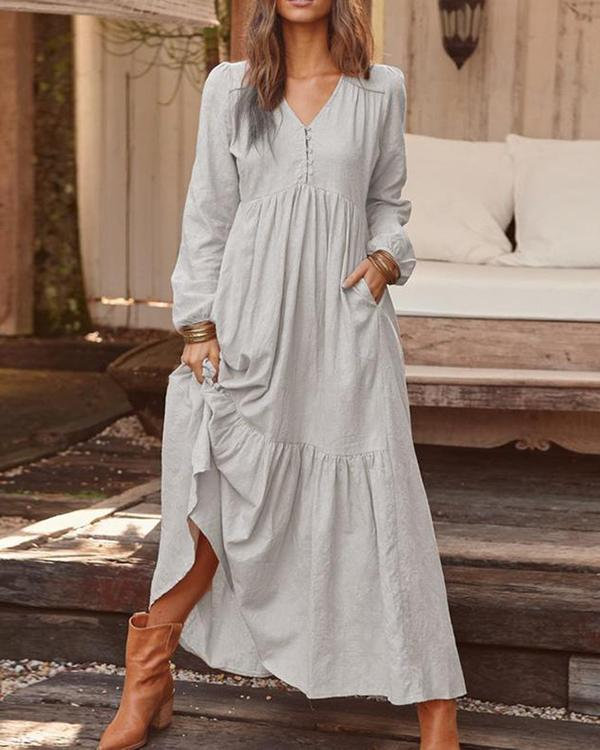 Women Solid Color V-neck Long Sleeve Causal Maxi Dress