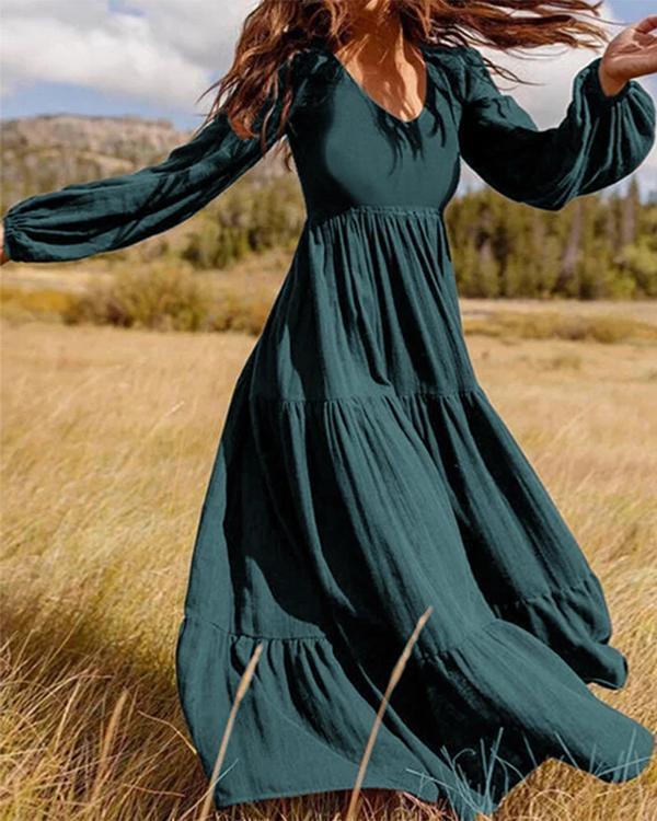 Women Retro Solid Color Back Zipper Puff Sleeve Loose Casual Maxi Dress