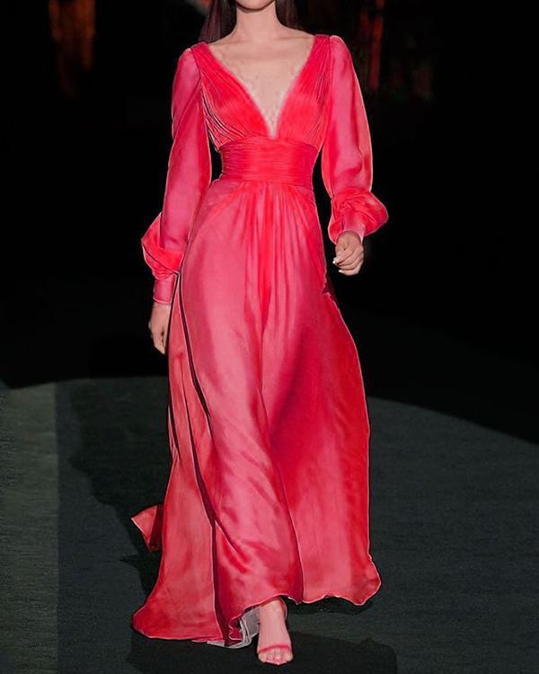 Women V-neck Elegant Solid Maxi Dress