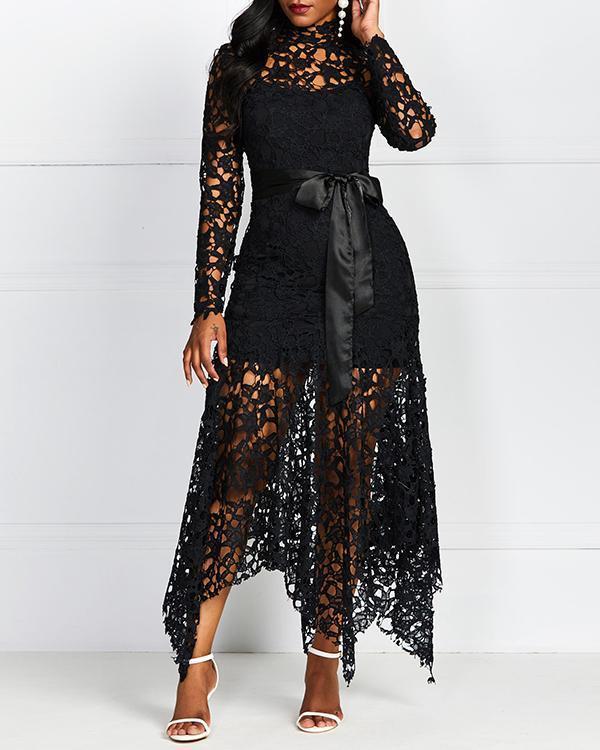 Plus Size Lace Irregular Hem Maxi Dress