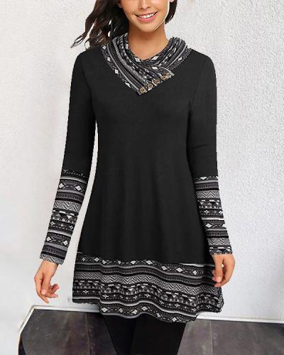 Vintage Plus Size Heap Collar Tunic Boho Dress