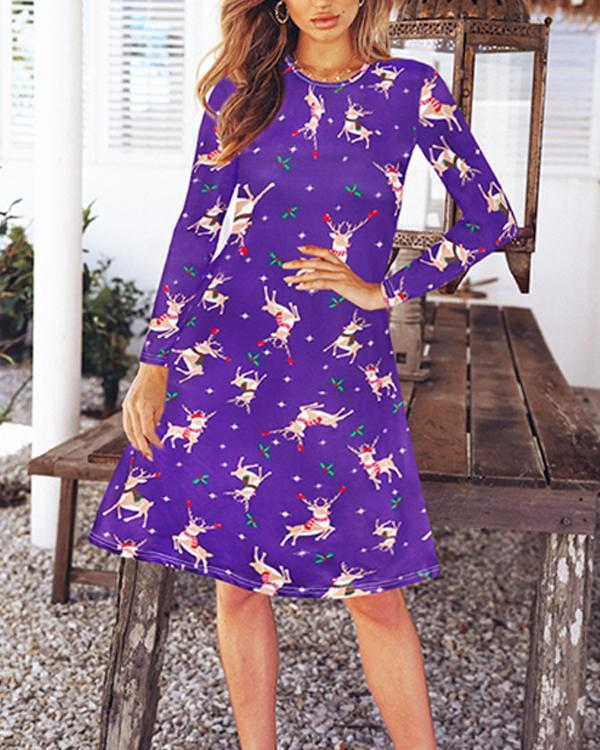 Long Sleeve Christmas Graphic Dress