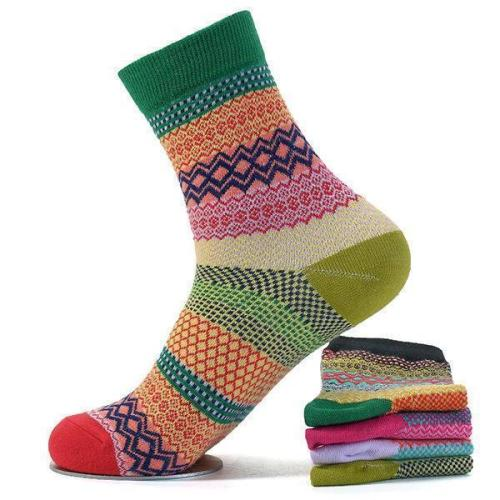 Men Women Couple Retro Cotton Striped Socks Design Multi-Color Fashion Casual Middle Tube Socks