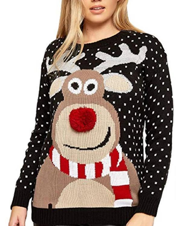 Daily Animal Crew Neck Long Sleeve Knitted Sweater