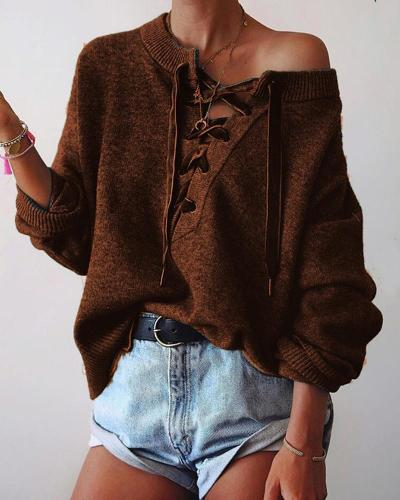 Plus Size Casual Lace Up Sweater