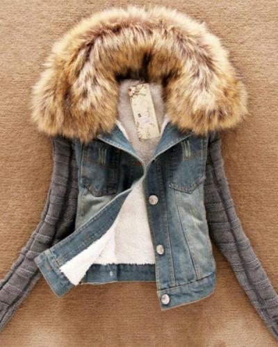 Denim Knitted Paneled Casual Jacket