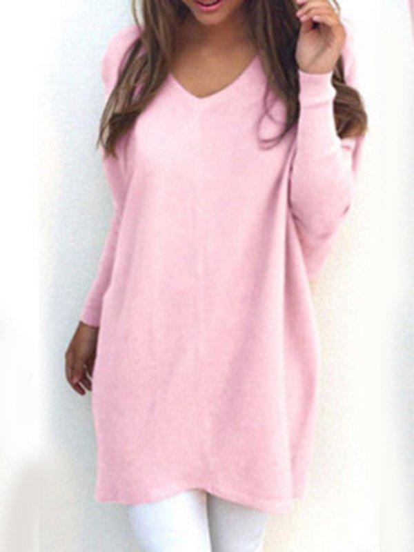 Solid Casual V Neck Long Sleeve Sweater