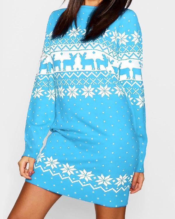 Christmas Print Mini Dress