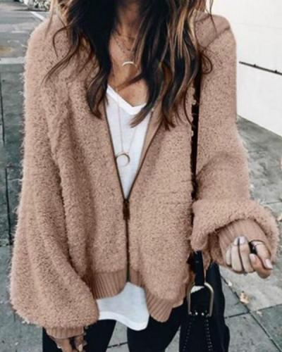 Hooded Long Lantern Sleeve Plain Zipper Fashion Casual Jackets