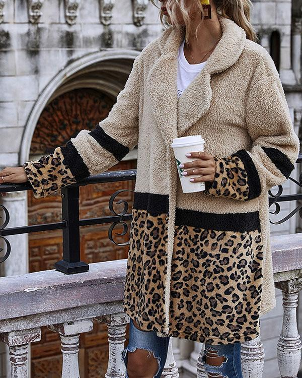 Women Leopard Print Winter Warm Coat