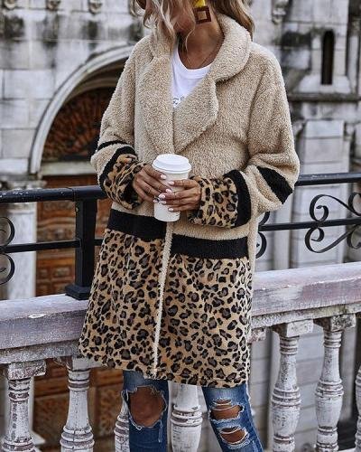 Women Leopard Print Winter Warm Coat