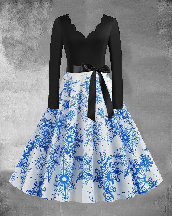 Christmas Print V-Neck Long Sleeved Midi Dress with Waistband(9 Patterns)
