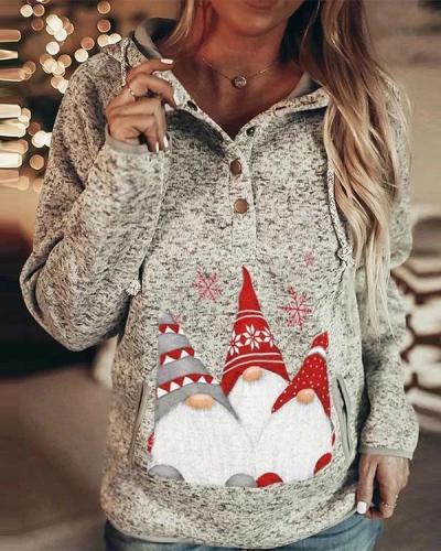 Women's Santa Christmas Printed Hooded Sweatshirt