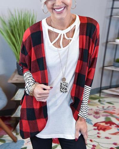 Contrast Color Plaid Striped Sleeve Cardigan Jacket