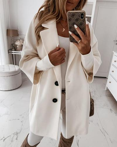 Women's Winter 3/4 Sleeve Button Pockets Lapel Loose Coat