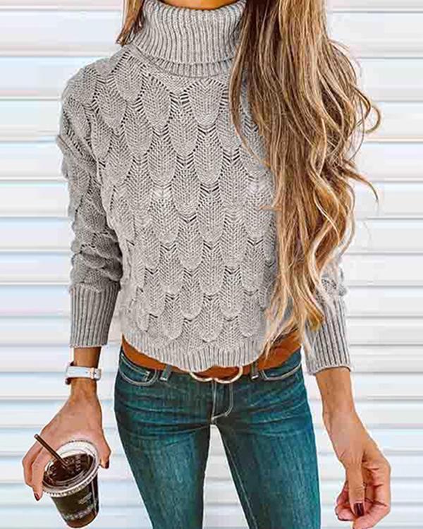 Crochet Turtleneck Knitting Top