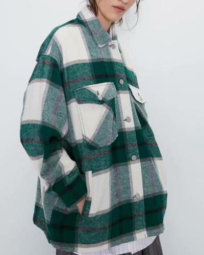 Women's Vintage Oversize Plaid Pockets Coat(17 Colors)