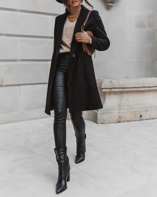 Women's Casual Fashion Pockets Lapel Straight Long Coat