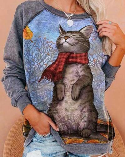 Christmas Plus Size Cartoon Cat Print Cute Sweatshirt