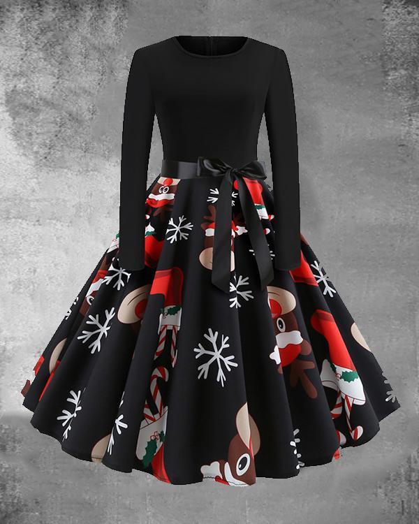 Christmas Santa Claus Print O-Neck Long Sleeved Midi Dress with Waistband