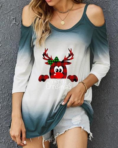 Print Tie Dye Cold Shoulder Long Sleeves Merry Christmas Blouses