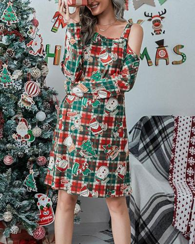 Print Long Sleeves One Shoulder Shift Knee Length Christmas/Party Dresses(7 Patterns)