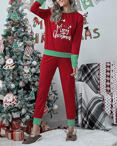 Casual Christmas Print Stripe Loungewear Shirt&Pants Set