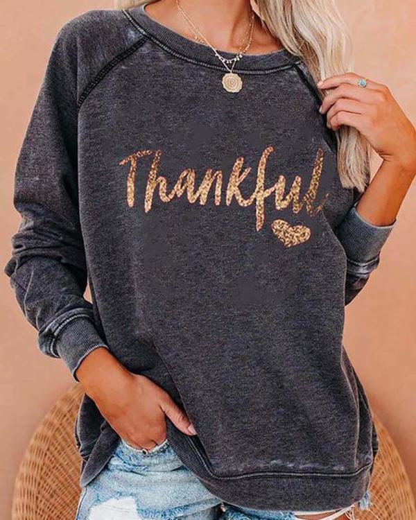 Thankful Print Round Neck Long Sleeve Sweatshirt
