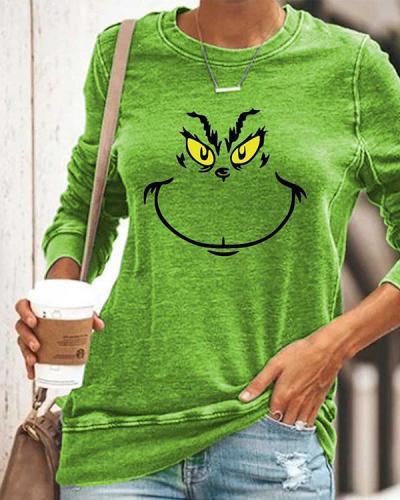 Long Sleeve Green Graffiti Printed Shirts