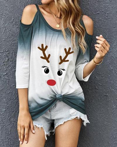 Print Tie Dye Cold Shoulder Long Sleeves Christmas Blouses