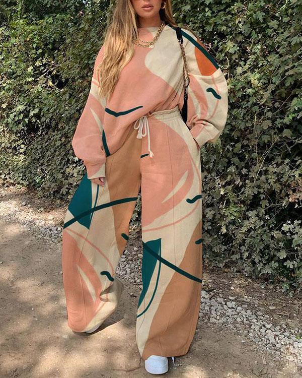 Fashion Ladies Art Print Colorful Sport Suit